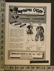 1950 Toy Ad Hopalong Cassidy Cowboy Western Outfit Playsuit Iskin Souderton Ti32
