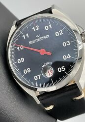 Meistersinger Metris Single Hand Swiss Automatic Black Dial Red Hand 38mm