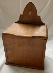 Vintage Wood Hinged Top Hanging Wall Box Primitive Country Kitchen Decor Rustic