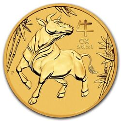 New 2021 1/10thoz Pure 9999 Gold Year Of The Ox Perth Mint Gem 298.88