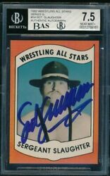 1982 Wrestling All Stars 14 Sergeant Slaughter Signed Autograph Auto Grade 9