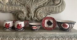 Heather Goldminc Blue Sky Clayworks Chicken Rooster Decorative Bowls Plate Mugs