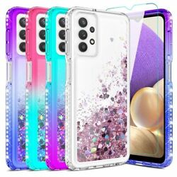 For Samsung Galaxy A32 5G Case Liquid Bling Hybrid Phone Cover Glass Protector