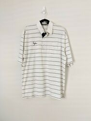 Vintage New York Yankees White Striped Embroidered Polo Shirt Mens Xxl