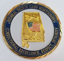 Authentic Doj Bop Federal Bureau Of Prisons Fpc Camp Montgomery Alabama Coin