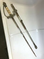 Vintage Pettibone Masonic Knights Templar Etched Sword With Scabbard - As Is