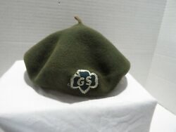Vtg Great Trail Girl Scout Beret And Sash W/badges And Pins Rare-1960's-ohio