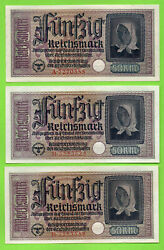 Germany Occupied Territories Lot Of 5 50 Rm Unc Eagle W/h Swastika 1940-45s 414