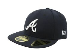 New Era 59fifty Mens Cap Atlanta Braves 2021 Low Profile Navy Blue Fitted Hat