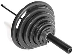 Cap Barbell 300lbs Olympic Grip Weight Set 7ft Bar 2-inch Plates