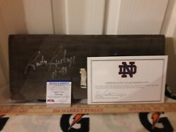 Rudy Ruettiger Signed Notre Dame Stadium Game Used Wooden Seat Bench Psa Dna