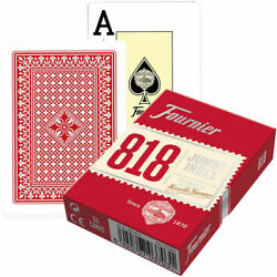 6 Fournier 818 Poker Plastic Coated Playing Cards Decks 3 Red 3 Blue Jumbo New