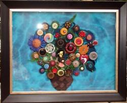Framed Basket Full Of Posies Button Art 80+ Antique Buttons In Woven Burlap Ooak