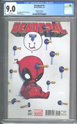 Deadpool 1 Cgc 9.0 Vf/nm 2013 Skottie Young And039screw Uand039 Variant Cover