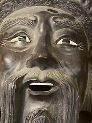 19th Century Life Sized Carved Wooden Chinese Mask Immortals Of The Taoist