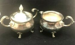 Vintage Bristol By Poole Silverplate Creamer And Sugar Bowl With Lid 110 Gs