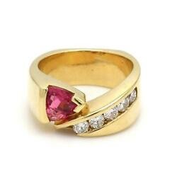 Coffin And Trout 18k Yellow Gold Tourmaline And Diamond Ring - Sz. 5.25