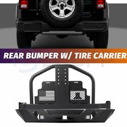 Powder Coated Rear Bumper With Spare Tire Carrier For 2007-2018 Jeep Wrangler Jk