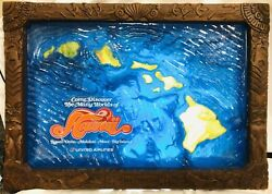 United Airlines Hawaii 3d Sign Tiki Style Light Up Art Poster Travel Vtg 60s 70s