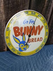 1957 Bunny Bread Pam Thermometer Sign. 12in. Glass. Original