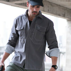 New Mens Long Sleeve Cargo Casual Shirts Army Military Tactical Combat Sport Top