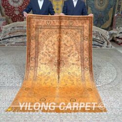 Yilong 4'x6' Yellow Hand Knotted Silk Rugs Tapestry Antique Handmade Carpet 659b