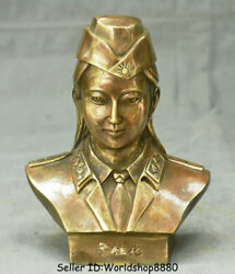 6.8old China Bronze Li Gui Hua Military Officer Chief Of Staff Head Bust Statue