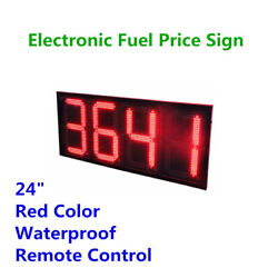 24 Wireless Led Gas Station Sign Red Color Electronic Fuel Price Sign Motel