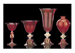 Vase Veronese Cups Murano Glass Red Webbing Belting Gold Made In Italy