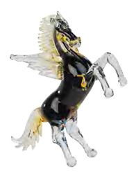 Murano Glass Sculpture Horse Winged Pegasus Made In Italy Piece Single