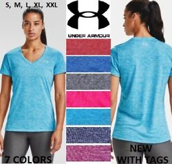 New Women Under Armour Twisted Tech Loose Gym Logo V-neck T-shirt Tee S-xxl Nwt