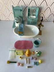 Sylvanian Families Vintage-blue Bathroom Set With Lots Of Accessories ,rare