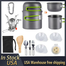 14Pcs Outdoor Camping Cookware Stove Hiking Backpacking Gear Set Cooking Picnic $24.95