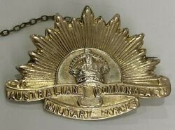 Early 9ct Gold Australian Commonwealth Military Forces Badge Brooch 9.90g