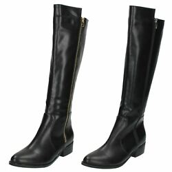 Ladies Spot On Zip Low Heel Pointed Toe Smart Knee High Riding Boots F50394 Size