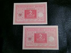 Uncirc Old Banknotes Lot Germany 2x2 Mark 1920 Fancy Serial Numbers Consecutive