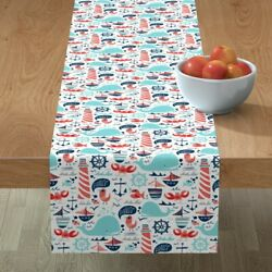 Table Runner Nautical Boats Anchor Whales Sea Whale Fish Sailboat Cotton Sateen