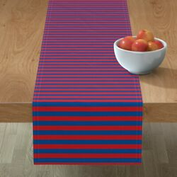 Table Runner Rugby Stripe Red Cotton Sateen
