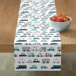 Table Runner Car Nursery Kid Room Cars Boys Transportation Buses Cotton Sateen