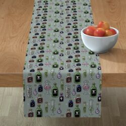 Table Runner Poison Halloween Spooky Bottles Mad Scientist Witch Cotton Sateen