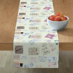Table Runner Passport Stamps Green Collage Travel International Cotton Sateen
