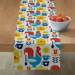 Table Runner Morning Coffee Breakfast Rooster Mug Sun Coffe Red Cotton Sateen