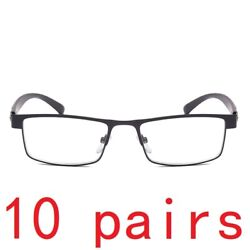 10 Pack Men Classic Style Square Metal Frame Reading Glasses Spring Hinge Reader