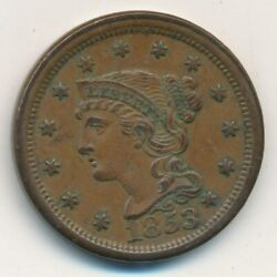 1853 Braided Hair Large Cent-beautiful Uncirculated Cent-ships Free Invds