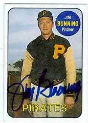 Jim Bunning Autographed Baseball Card Pirates 1986 Sports Design Products 14