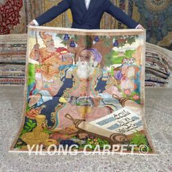 Yilong 4.5and039x5and039 Handmade Home Carpets Scholar Tapestry Hand Knotted Silk Rug 661a