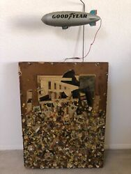 🔥 Antique Mid Century Modern Abstract Brutalist Painting Sculpture, Signed