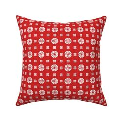 Retro Red 1930 Circles Dots Throw Pillow Cover W Optional Insert By Roostery