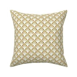 1930s Seashell Nautical Gold Throw Pillow Cover W Optional Insert By Roostery