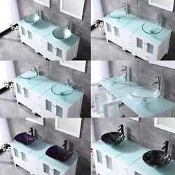 60 White Bathroom Vanity Cabinet Optional Double Sink Tempered Glass Top Mirror